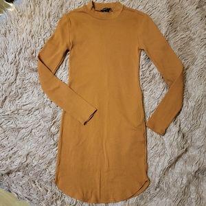 F21 Burnt Orange Mock TurtleNeck Long Sleeve Dress